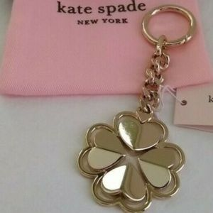 NWT~KATE ♠️~GOLD Legacy Logo♠️Flower KeychainCharm